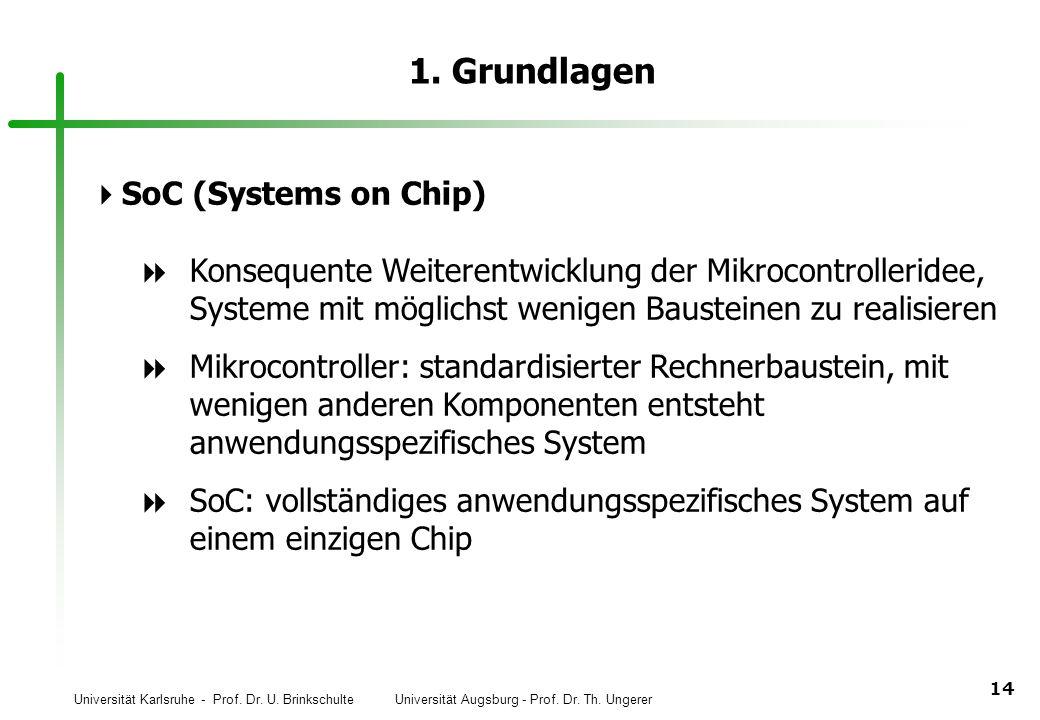 Universität Karlsruhe - Prof. Dr. U. Brinkschulte Universität Augsburg - Prof. Dr. Th. Ungerer 14 1. Grundlagen SoC (Systems on Chip) Konsequente Weit