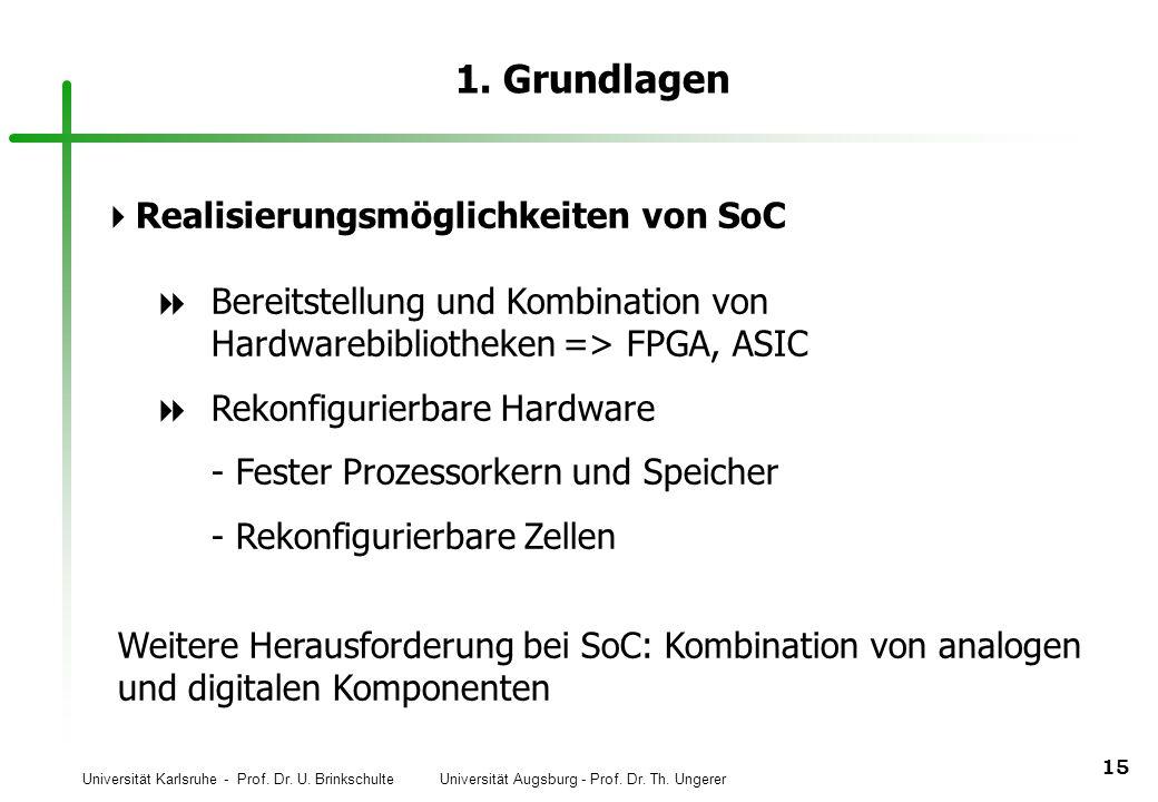 Universität Karlsruhe - Prof. Dr. U. Brinkschulte Universität Augsburg - Prof. Dr. Th. Ungerer 15 1. Grundlagen Realisierungsmöglichkeiten von SoC Ber