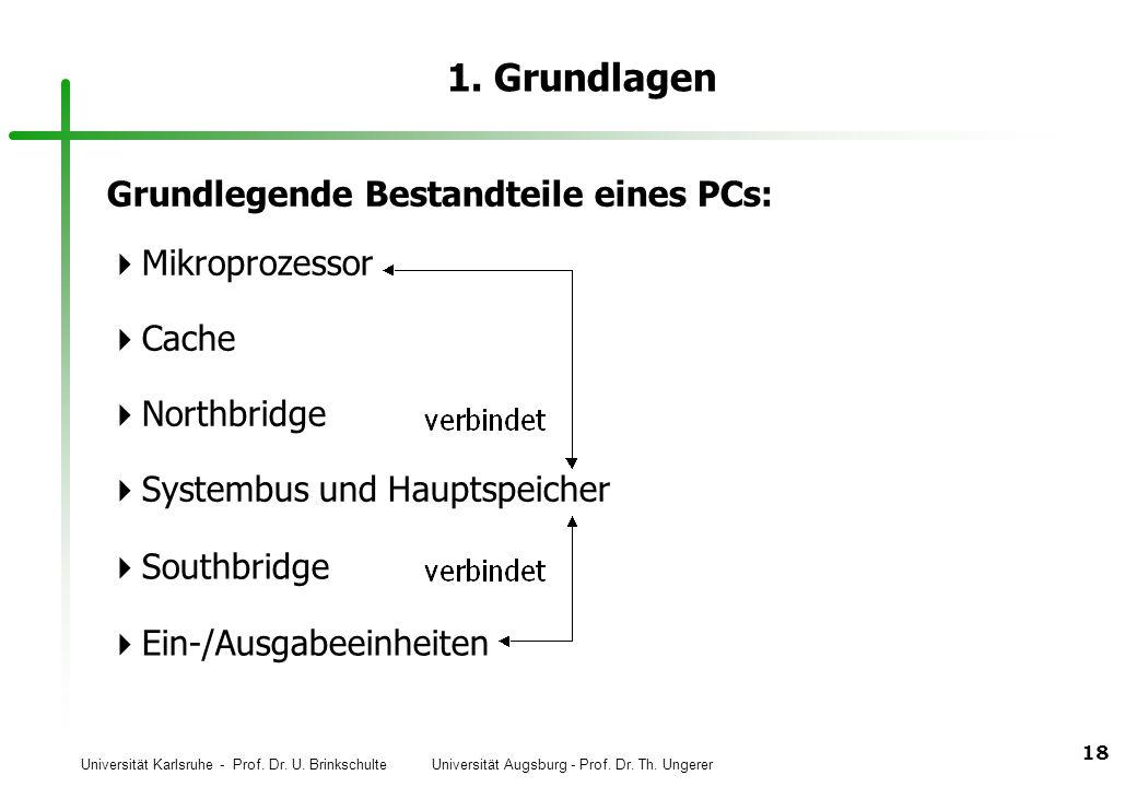Universität Karlsruhe - Prof. Dr. U. Brinkschulte Universität Augsburg - Prof. Dr. Th. Ungerer 18 1. Grundlagen Grundlegende Bestandteile eines PCs: M