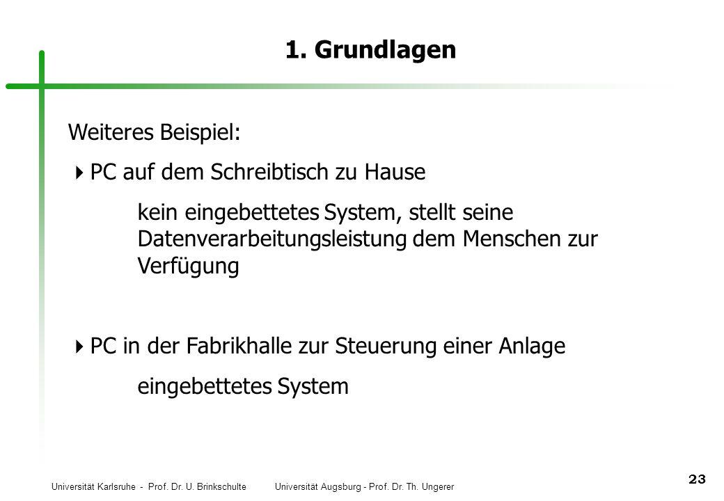 Universität Karlsruhe - Prof. Dr. U. Brinkschulte Universität Augsburg - Prof. Dr. Th. Ungerer 23 1. Grundlagen Weiteres Beispiel: PC auf dem Schreibt