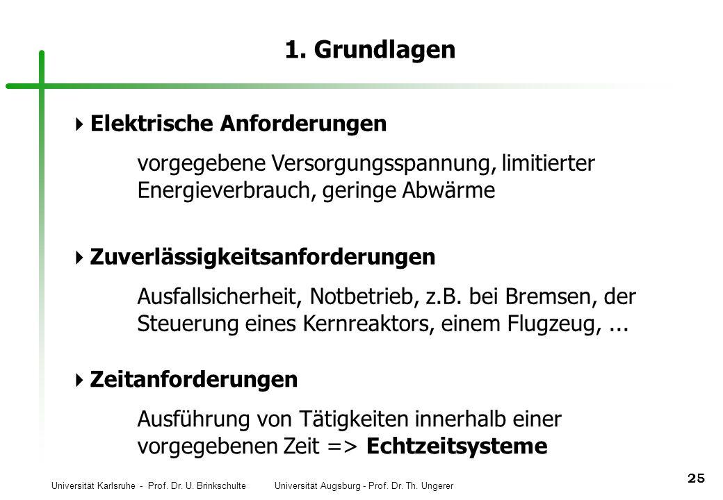 Universität Karlsruhe - Prof. Dr. U. Brinkschulte Universität Augsburg - Prof. Dr. Th. Ungerer 25 1. Grundlagen Elektrische Anforderungen vorgegebene