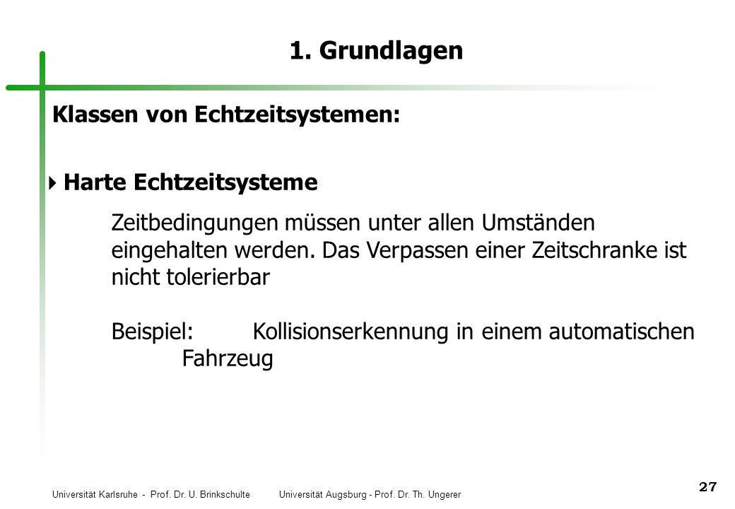 Universität Karlsruhe - Prof. Dr. U. Brinkschulte Universität Augsburg - Prof. Dr. Th. Ungerer 27 1. Grundlagen Klassen von Echtzeitsystemen: Harte Ec
