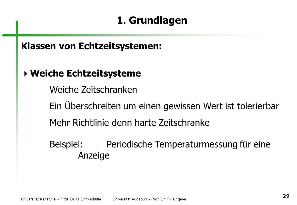 Universität Karlsruhe - Prof. Dr. U. Brinkschulte Universität Augsburg - Prof. Dr. Th. Ungerer 29 1. Grundlagen Klassen von Echtzeitsystemen: Weiche E
