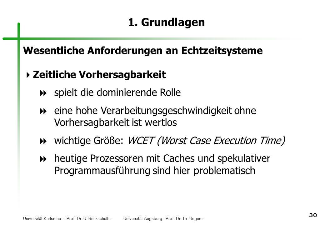 Universität Karlsruhe - Prof. Dr. U. Brinkschulte Universität Augsburg - Prof. Dr. Th. Ungerer 30 1. Grundlagen Wesentliche Anforderungen an Echtzeits