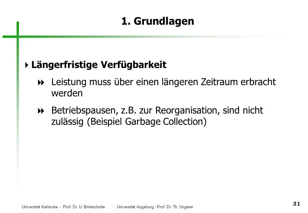 Universität Karlsruhe - Prof. Dr. U. Brinkschulte Universität Augsburg - Prof. Dr. Th. Ungerer 31 1. Grundlagen Längerfristige Verfügbarkeit Leistung