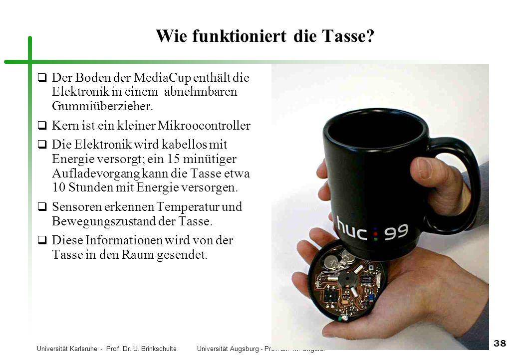 Universität Karlsruhe - Prof. Dr. U. Brinkschulte Universität Augsburg - Prof. Dr. Th. Ungerer 38 Wie funktioniert die Tasse? q Der Boden der MediaCup
