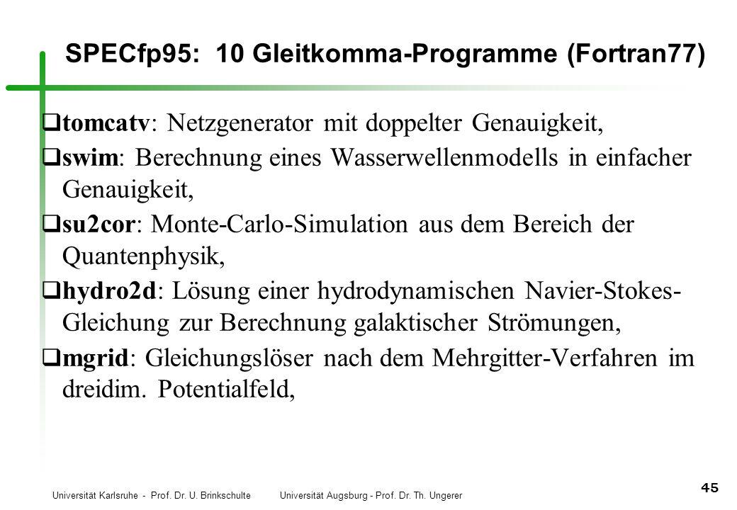 Universität Karlsruhe - Prof. Dr. U. Brinkschulte Universität Augsburg - Prof. Dr. Th. Ungerer 45 SPECfp95: 10 Gleitkomma-Programme (Fortran77) q tomc