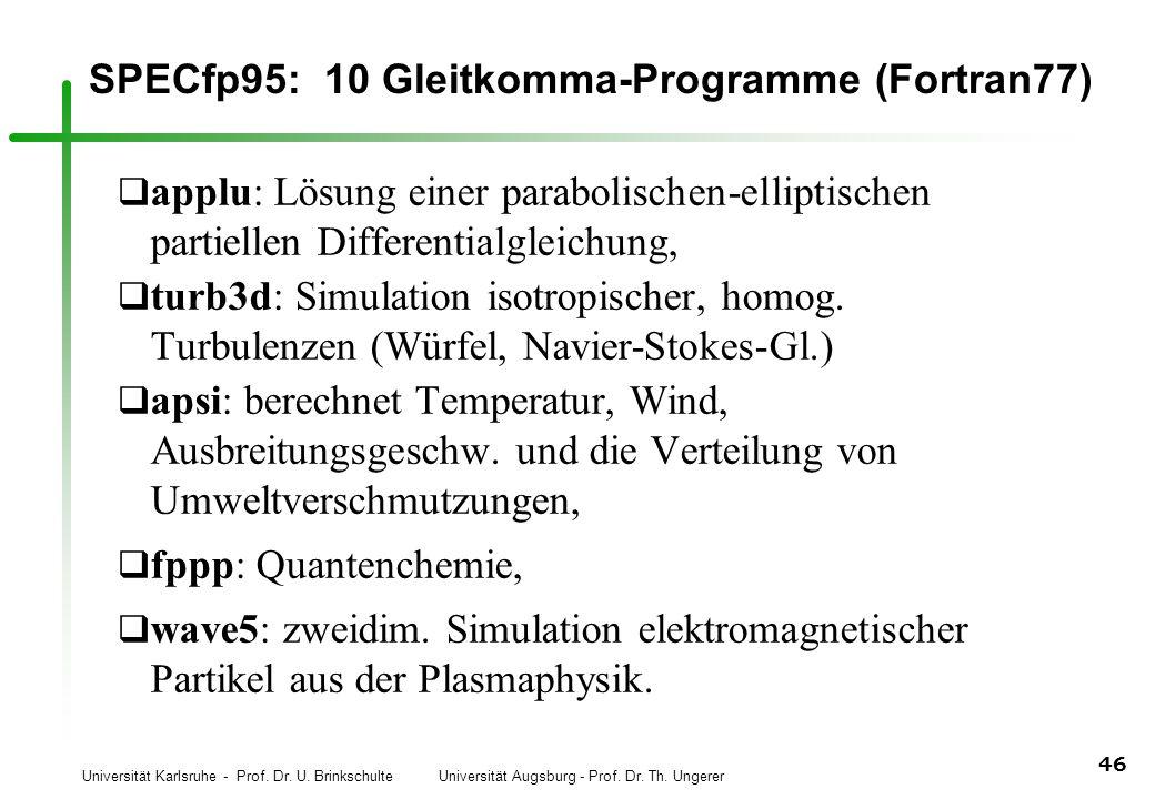 Universität Karlsruhe - Prof. Dr. U. Brinkschulte Universität Augsburg - Prof. Dr. Th. Ungerer 46 SPECfp95: 10 Gleitkomma-Programme (Fortran77) q appl