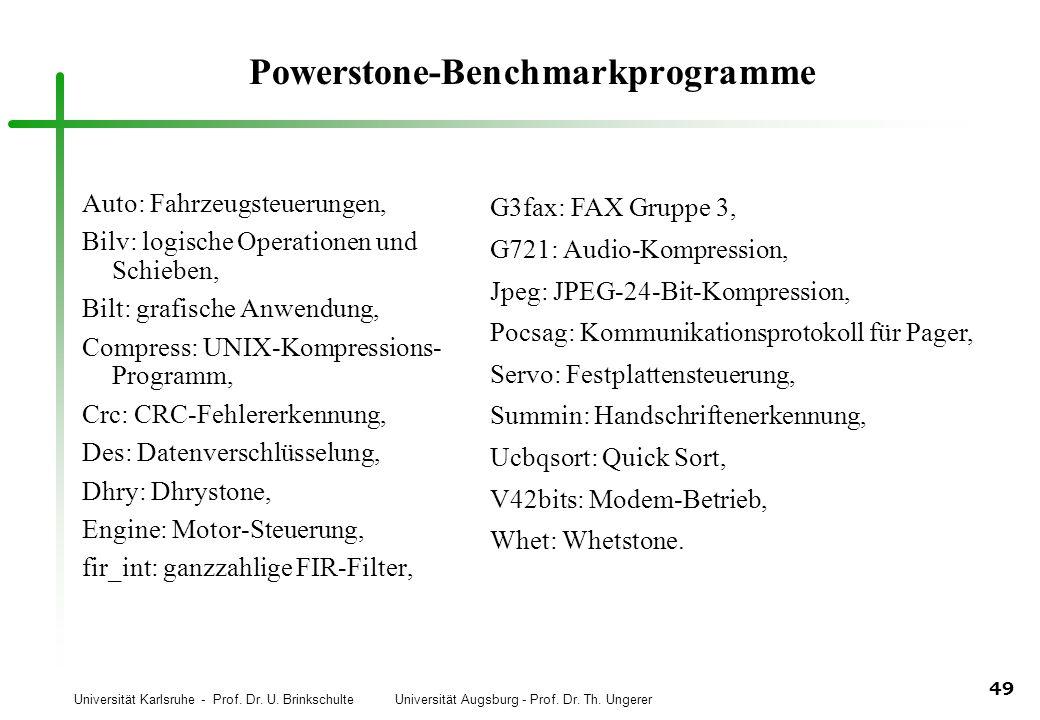 Universität Karlsruhe - Prof. Dr. U. Brinkschulte Universität Augsburg - Prof. Dr. Th. Ungerer 49 Powerstone-Benchmarkprogramme Auto: Fahrzeugsteuerun