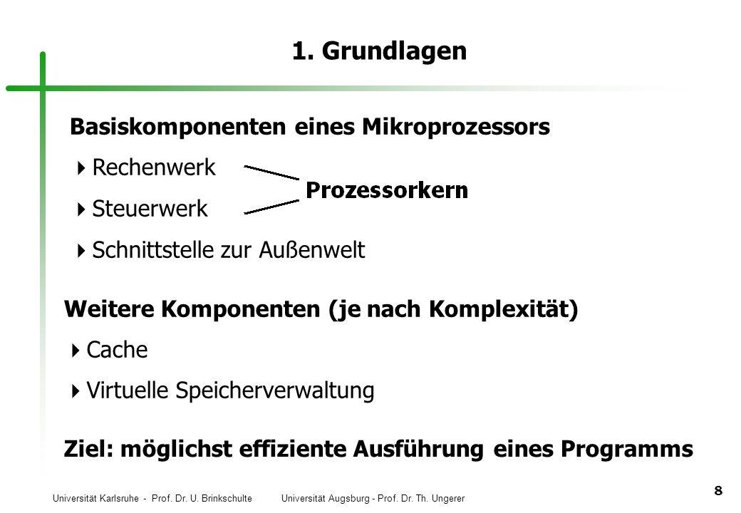 Universität Karlsruhe - Prof. Dr. U. Brinkschulte Universität Augsburg - Prof. Dr. Th. Ungerer 8 1. Grundlagen Basiskomponenten eines Mikroprozessors