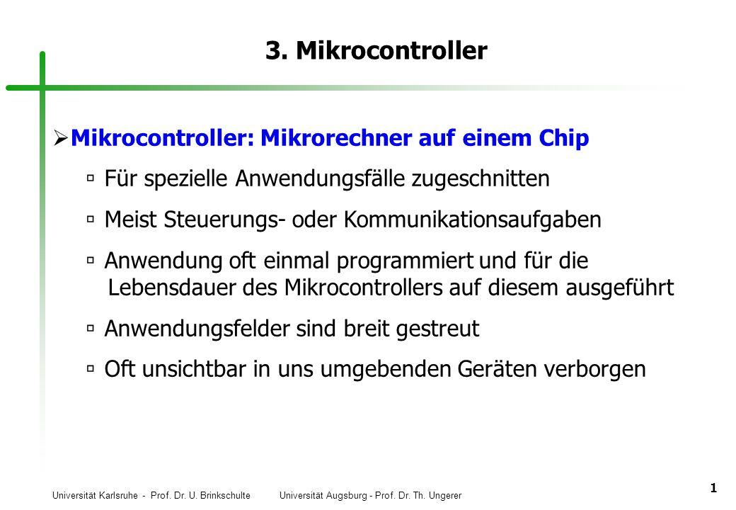 Universität Karlsruhe - Prof. Dr. U. Brinkschulte Universität Augsburg - Prof. Dr. Th. Ungerer 1 3. Mikrocontroller Mikrocontroller: Mikrorechner auf