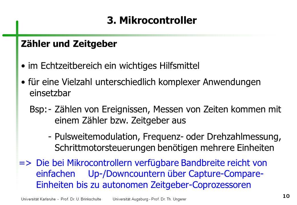 Universität Karlsruhe - Prof. Dr. U. Brinkschulte Universität Augsburg - Prof. Dr. Th. Ungerer 10 3. Mikrocontroller Zähler und Zeitgeber im Echtzeitb