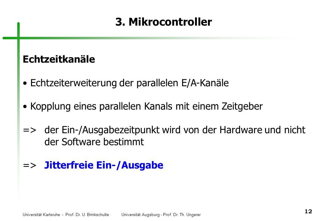Universität Karlsruhe - Prof. Dr. U. Brinkschulte Universität Augsburg - Prof. Dr. Th. Ungerer 12 3. Mikrocontroller Echtzeitkanäle Echtzeiterweiterun