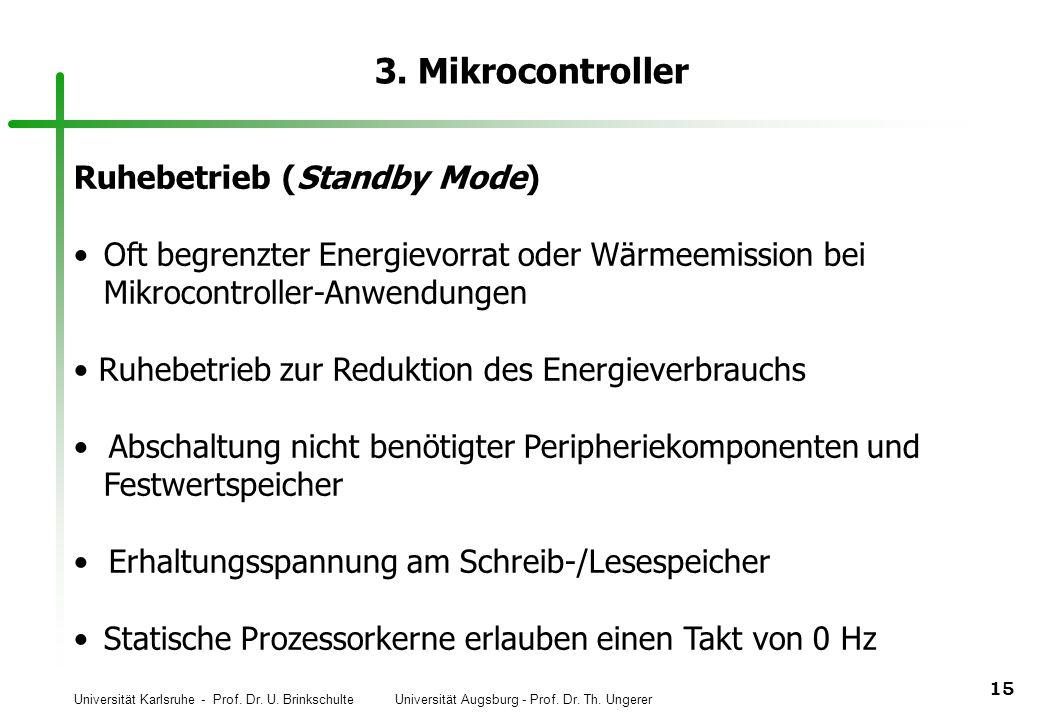 Universität Karlsruhe - Prof. Dr. U. Brinkschulte Universität Augsburg - Prof. Dr. Th. Ungerer 15 3. Mikrocontroller Ruhebetrieb (Standby Mode) Oft be