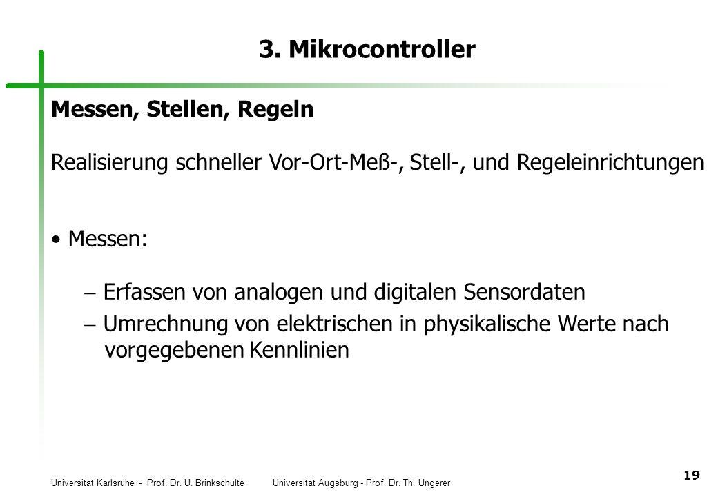 Universität Karlsruhe - Prof. Dr. U. Brinkschulte Universität Augsburg - Prof. Dr. Th. Ungerer 19 3. Mikrocontroller Messen, Stellen, Regeln Realisier