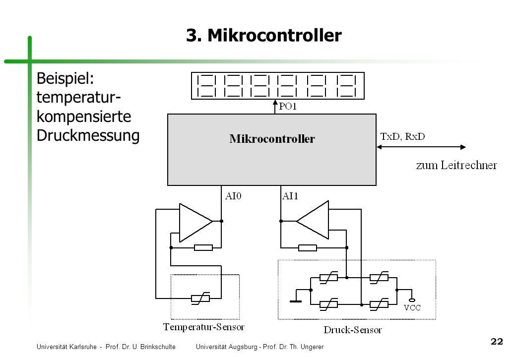 Universität Karlsruhe - Prof. Dr. U. Brinkschulte Universität Augsburg - Prof. Dr. Th. Ungerer 22 3. Mikrocontroller Beispiel: temperatur- kompensiert