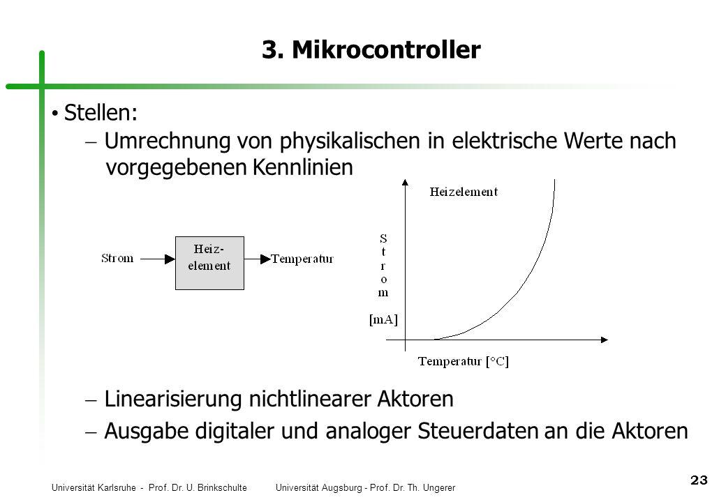Universität Karlsruhe - Prof. Dr. U. Brinkschulte Universität Augsburg - Prof. Dr. Th. Ungerer 23 3. Mikrocontroller Stellen: Linearisierung nichtline