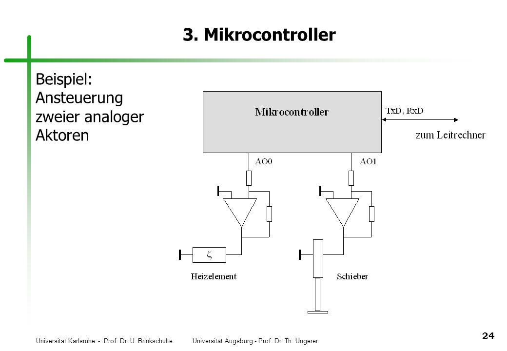 Universität Karlsruhe - Prof. Dr. U. Brinkschulte Universität Augsburg - Prof. Dr. Th. Ungerer 24 3. Mikrocontroller Beispiel: Ansteuerung zweier anal