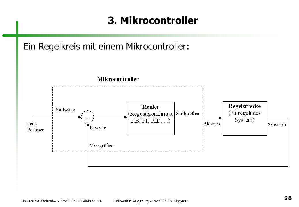 Universität Karlsruhe - Prof. Dr. U. Brinkschulte Universität Augsburg - Prof. Dr. Th. Ungerer 28 3. Mikrocontroller Ein Regelkreis mit einem Mikrocon
