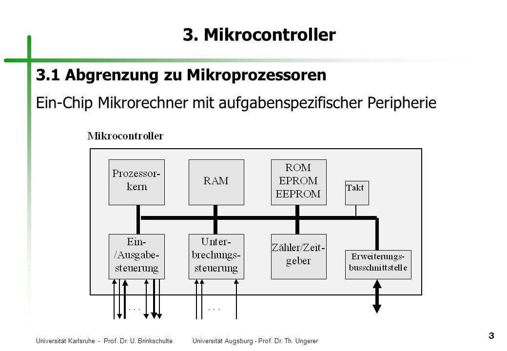 Universität Karlsruhe - Prof. Dr. U. Brinkschulte Universität Augsburg - Prof. Dr. Th. Ungerer 3 3. Mikrocontroller 3.1 Abgrenzung zu Mikroprozessoren
