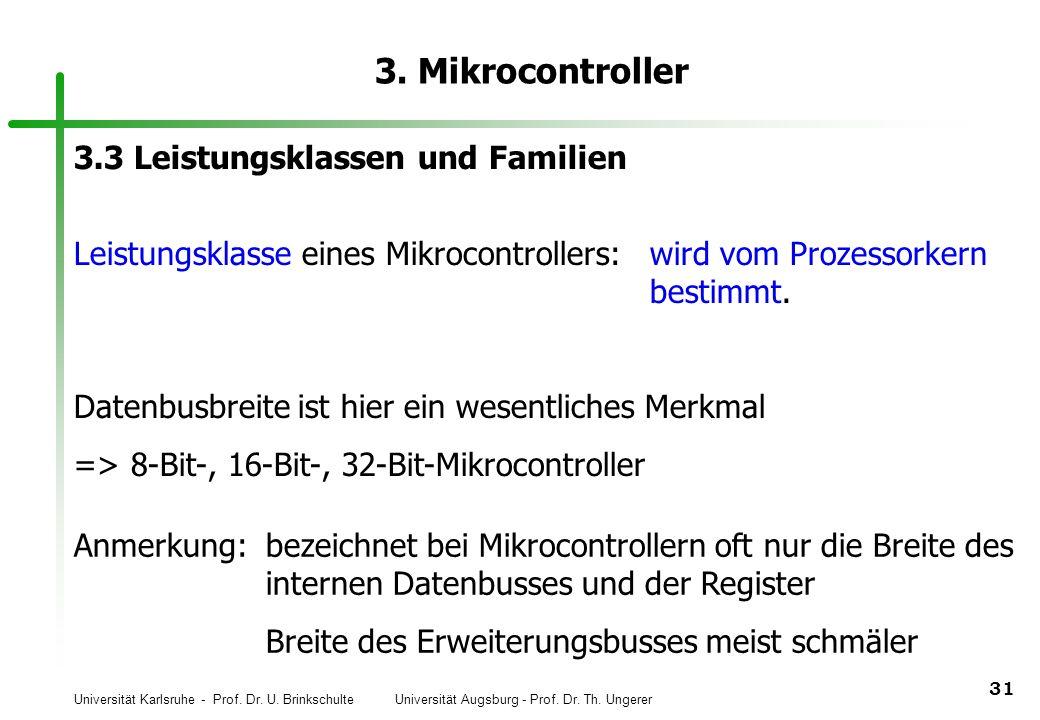 Universität Karlsruhe - Prof. Dr. U. Brinkschulte Universität Augsburg - Prof. Dr. Th. Ungerer 31 3. Mikrocontroller 3.3 Leistungsklassen und Familien