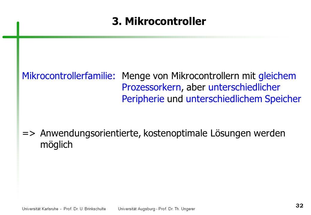 Universität Karlsruhe - Prof. Dr. U. Brinkschulte Universität Augsburg - Prof. Dr. Th. Ungerer 32 3. Mikrocontroller Mikrocontrollerfamilie:Menge von