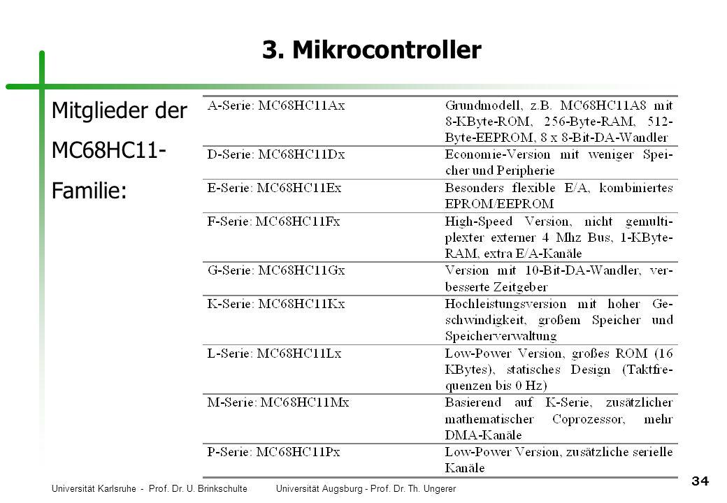 Universität Karlsruhe - Prof. Dr. U. Brinkschulte Universität Augsburg - Prof. Dr. Th. Ungerer 34 3. Mikrocontroller Mitglieder der MC68HC11- Familie: