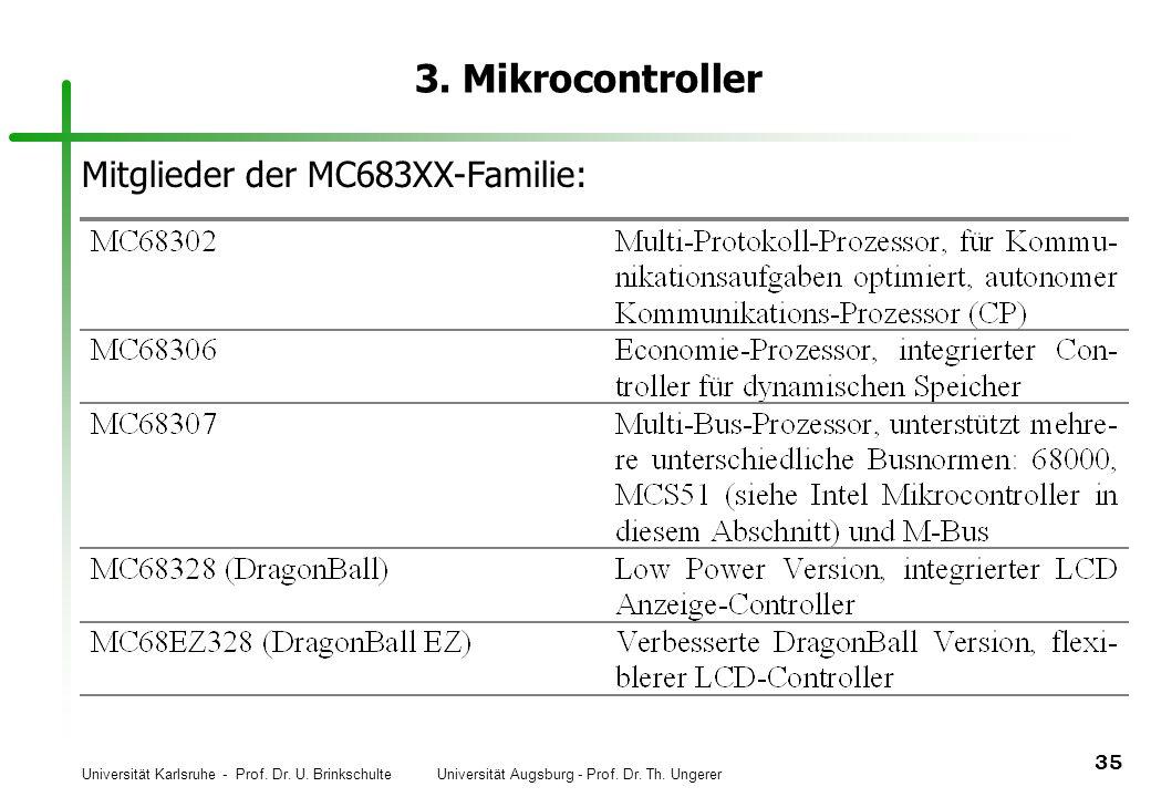 Universität Karlsruhe - Prof. Dr. U. Brinkschulte Universität Augsburg - Prof. Dr. Th. Ungerer 35 3. Mikrocontroller Mitglieder der MC683XX-Familie: