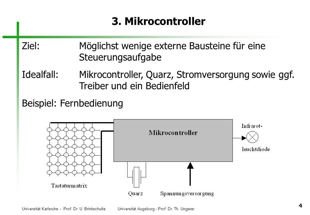 Universität Karlsruhe - Prof. Dr. U. Brinkschulte Universität Augsburg - Prof. Dr. Th. Ungerer 4 3. Mikrocontroller Ziel:Möglichst wenige externe Baus