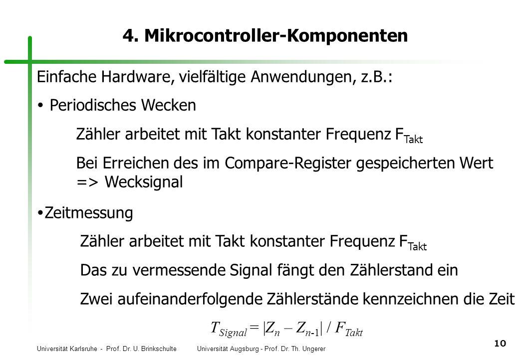 Universität Karlsruhe - Prof. Dr. U. Brinkschulte Universität Augsburg - Prof. Dr. Th. Ungerer 10 4. Mikrocontroller-Komponenten Einfache Hardware, vi