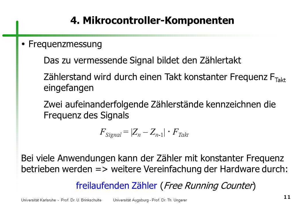Universität Karlsruhe - Prof. Dr. U. Brinkschulte Universität Augsburg - Prof. Dr. Th. Ungerer 11 4. Mikrocontroller-Komponenten Frequenzmessung Das z