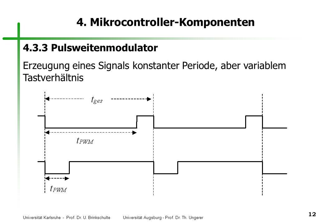 Universität Karlsruhe - Prof. Dr. U. Brinkschulte Universität Augsburg - Prof. Dr. Th. Ungerer 12 4. Mikrocontroller-Komponenten 4.3.3 Pulsweitenmodul