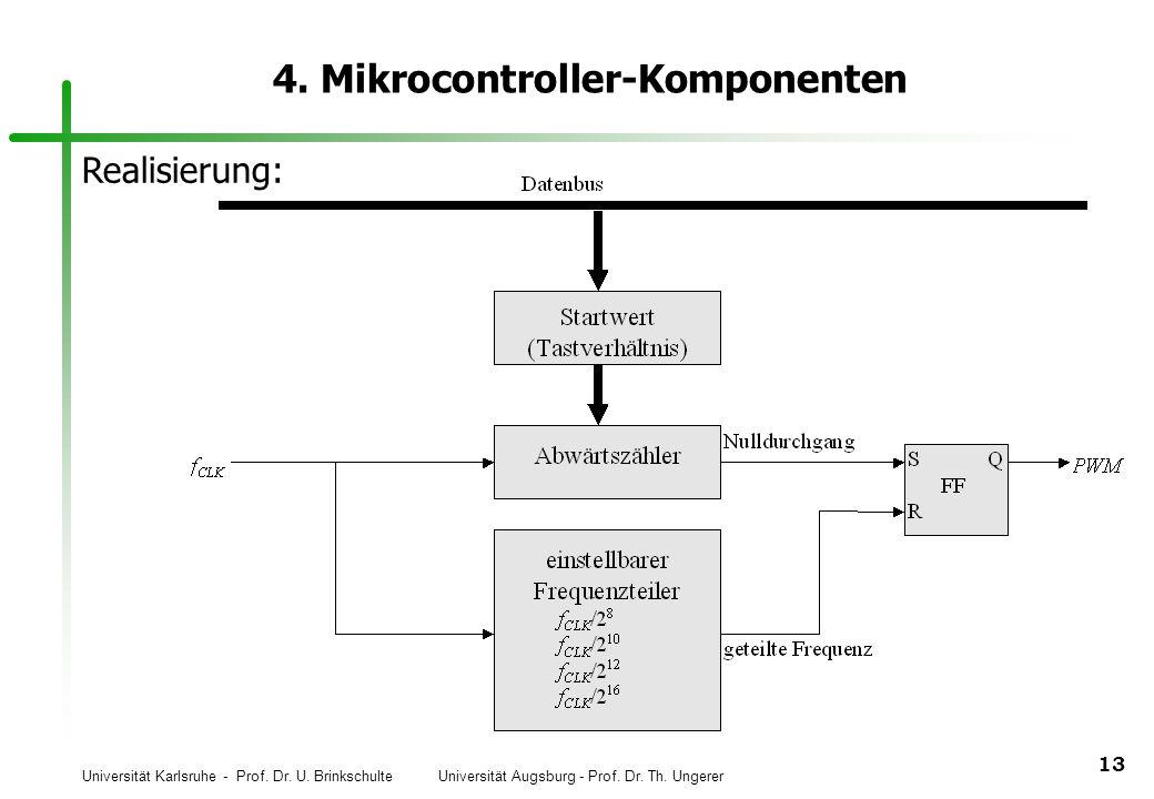 Universität Karlsruhe - Prof. Dr. U. Brinkschulte Universität Augsburg - Prof. Dr. Th. Ungerer 13 4. Mikrocontroller-Komponenten Realisierung: