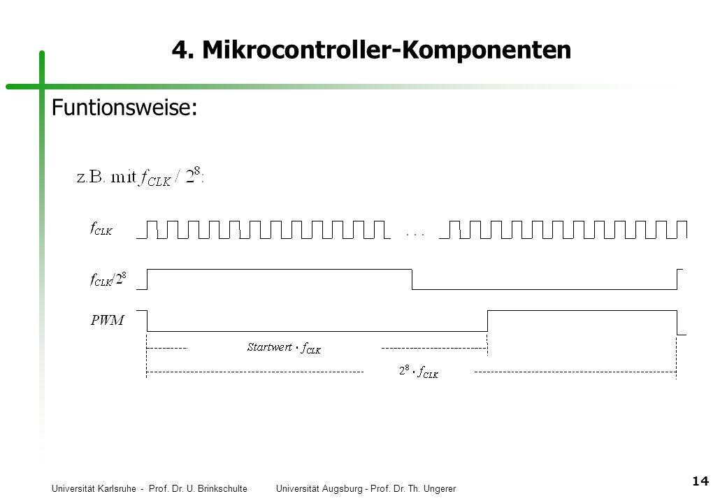 Universität Karlsruhe - Prof. Dr. U. Brinkschulte Universität Augsburg - Prof. Dr. Th. Ungerer 14 4. Mikrocontroller-Komponenten Funtionsweise: