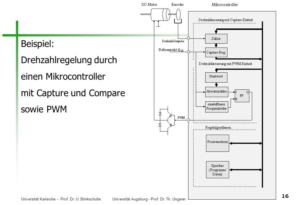 Universität Karlsruhe - Prof. Dr. U. Brinkschulte Universität Augsburg - Prof. Dr. Th. Ungerer 16 Beispiel: Drehzahlregelung durch einen Mikrocontroll