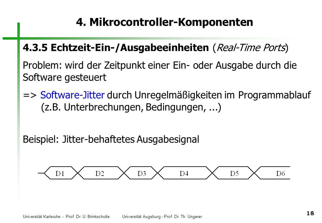 Universität Karlsruhe - Prof. Dr. U. Brinkschulte Universität Augsburg - Prof. Dr. Th. Ungerer 18 4. Mikrocontroller-Komponenten 4.3.5 Echtzeit-Ein-/A