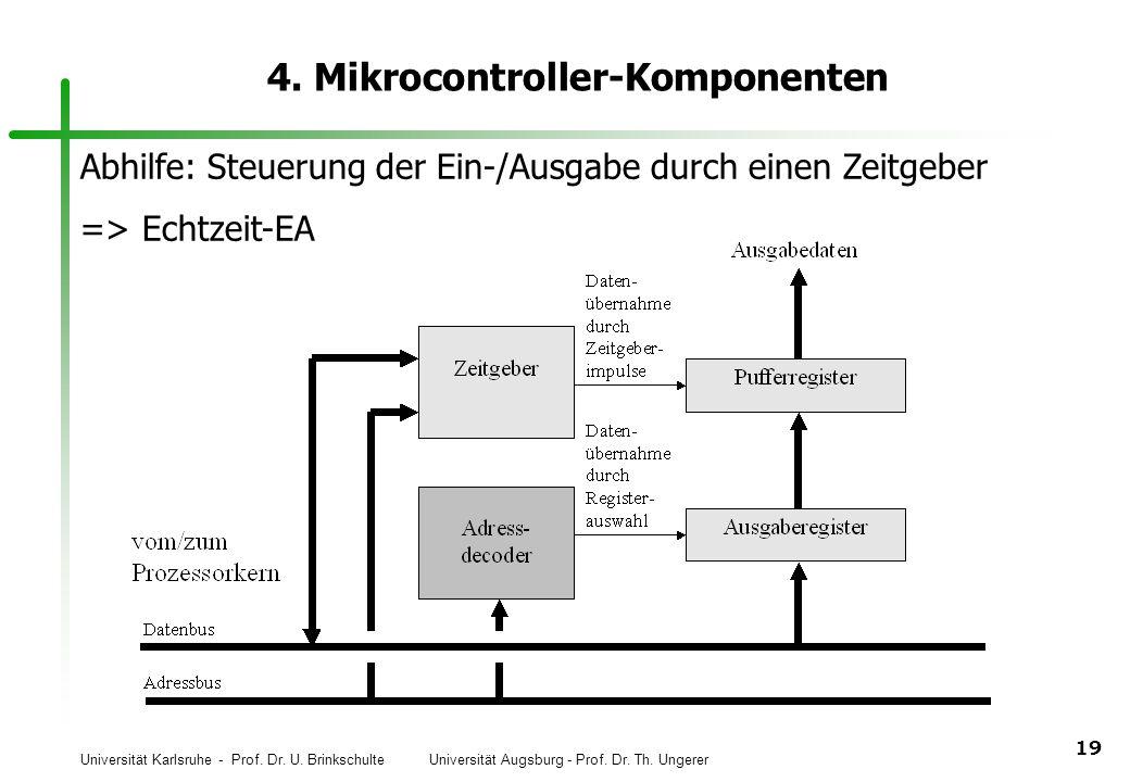 Universität Karlsruhe - Prof. Dr. U. Brinkschulte Universität Augsburg - Prof. Dr. Th. Ungerer 19 4. Mikrocontroller-Komponenten Abhilfe: Steuerung de