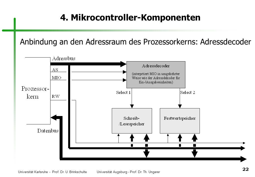 Universität Karlsruhe - Prof. Dr. U. Brinkschulte Universität Augsburg - Prof. Dr. Th. Ungerer 22 4. Mikrocontroller-Komponenten Anbindung an den Adre