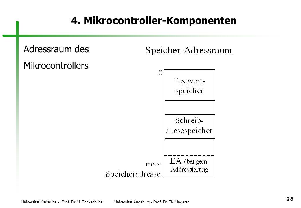 Universität Karlsruhe - Prof. Dr. U. Brinkschulte Universität Augsburg - Prof. Dr. Th. Ungerer 23 4. Mikrocontroller-Komponenten Adressraum des Mikroc
