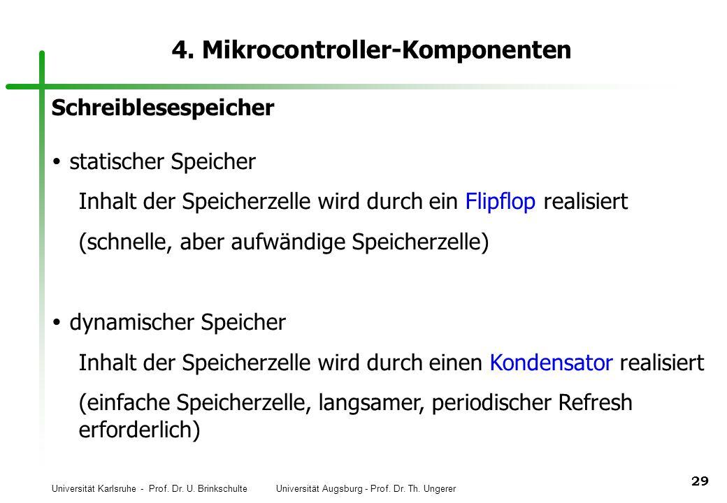 Universität Karlsruhe - Prof. Dr. U. Brinkschulte Universität Augsburg - Prof. Dr. Th. Ungerer 29 4. Mikrocontroller-Komponenten Schreiblesespeicher s