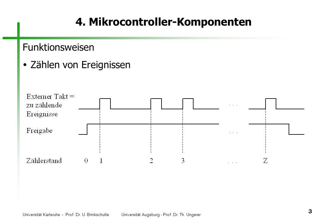 Universität Karlsruhe - Prof. Dr. U. Brinkschulte Universität Augsburg - Prof. Dr. Th. Ungerer 3 4. Mikrocontroller-Komponenten Funktionsweisen Zählen