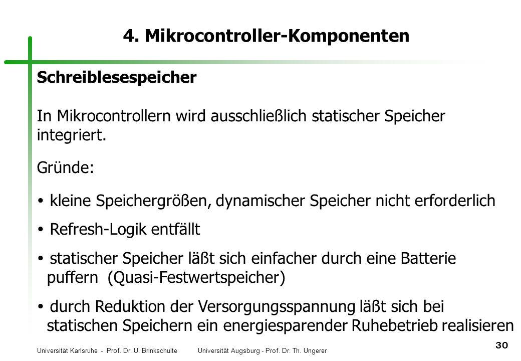 Universität Karlsruhe - Prof. Dr. U. Brinkschulte Universität Augsburg - Prof. Dr. Th. Ungerer 30 4. Mikrocontroller-Komponenten Schreiblesespeicher I
