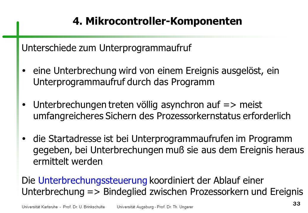Universität Karlsruhe - Prof. Dr. U. Brinkschulte Universität Augsburg - Prof. Dr. Th. Ungerer 33 4. Mikrocontroller-Komponenten Unterschiede zum Unte