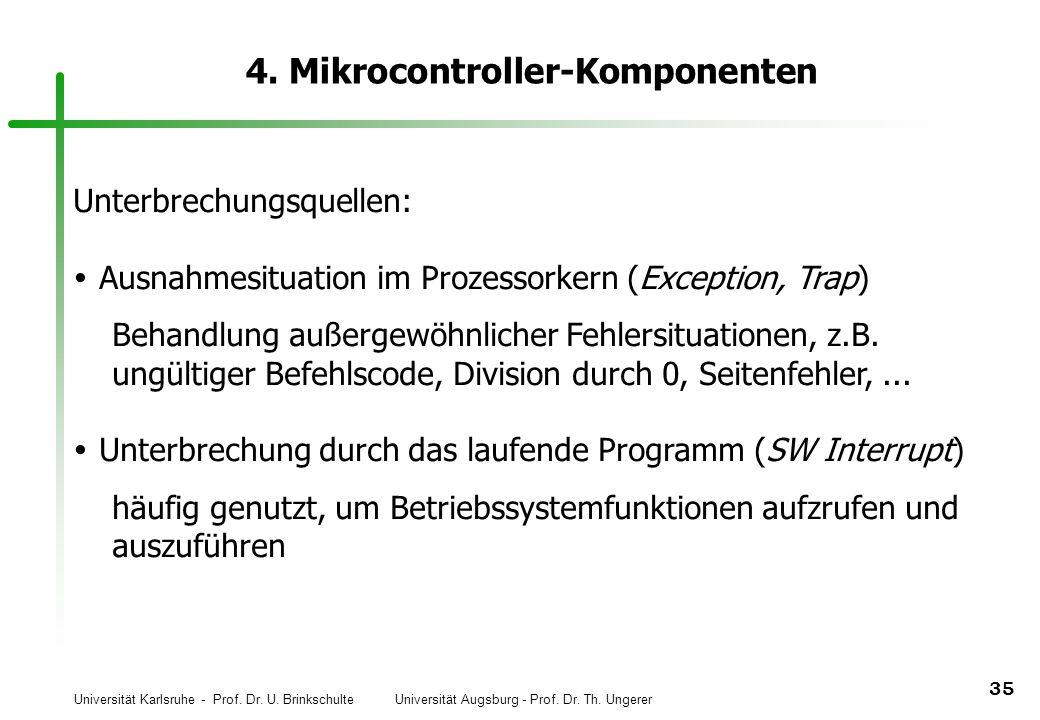 Universität Karlsruhe - Prof. Dr. U. Brinkschulte Universität Augsburg - Prof. Dr. Th. Ungerer 35 4. Mikrocontroller-Komponenten Unterbrechungsquellen