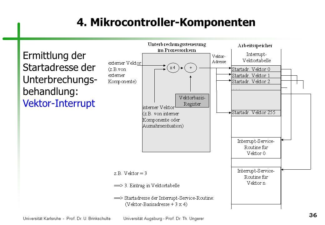 Universität Karlsruhe - Prof. Dr. U. Brinkschulte Universität Augsburg - Prof. Dr. Th. Ungerer 36 4. Mikrocontroller-Komponenten Ermittlung der Starta