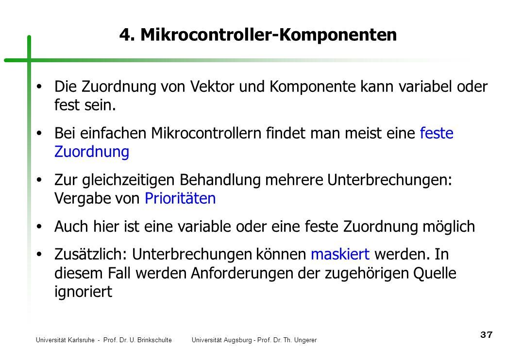 Universität Karlsruhe - Prof. Dr. U. Brinkschulte Universität Augsburg - Prof. Dr. Th. Ungerer 37 4. Mikrocontroller-Komponenten Die Zuordnung von Vek