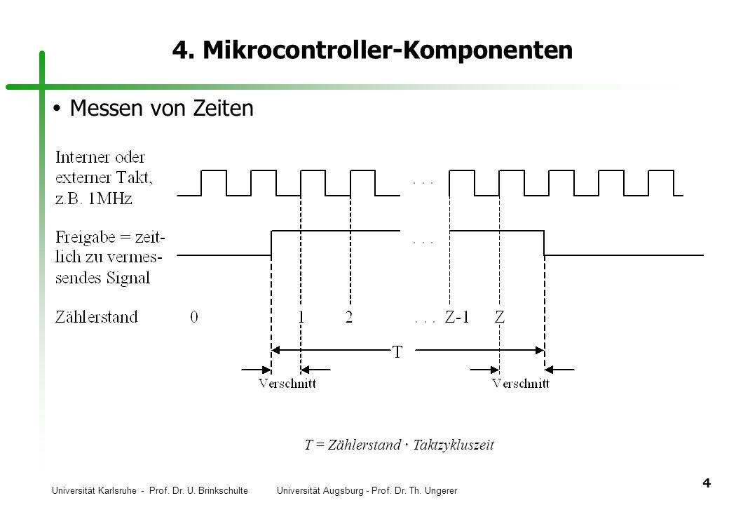 Universität Karlsruhe - Prof. Dr. U. Brinkschulte Universität Augsburg - Prof. Dr. Th. Ungerer 4 4. Mikrocontroller-Komponenten Messen von Zeiten T =