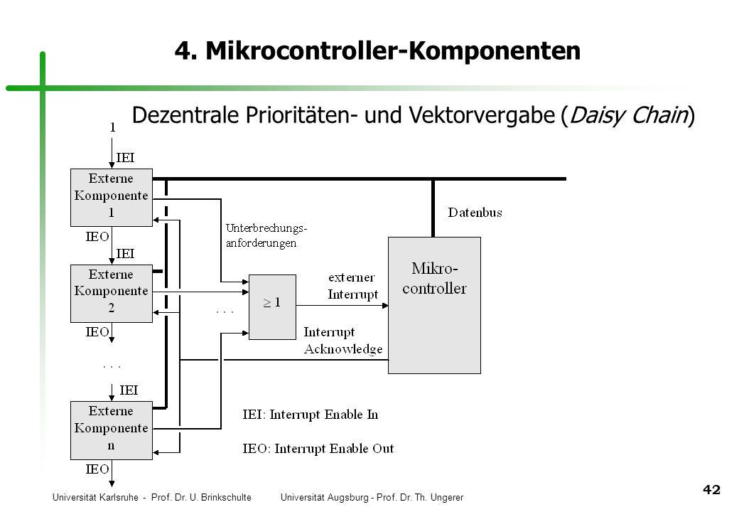 Universität Karlsruhe - Prof. Dr. U. Brinkschulte Universität Augsburg - Prof. Dr. Th. Ungerer 42 4. Mikrocontroller-Komponenten Dezentrale Prioritäte