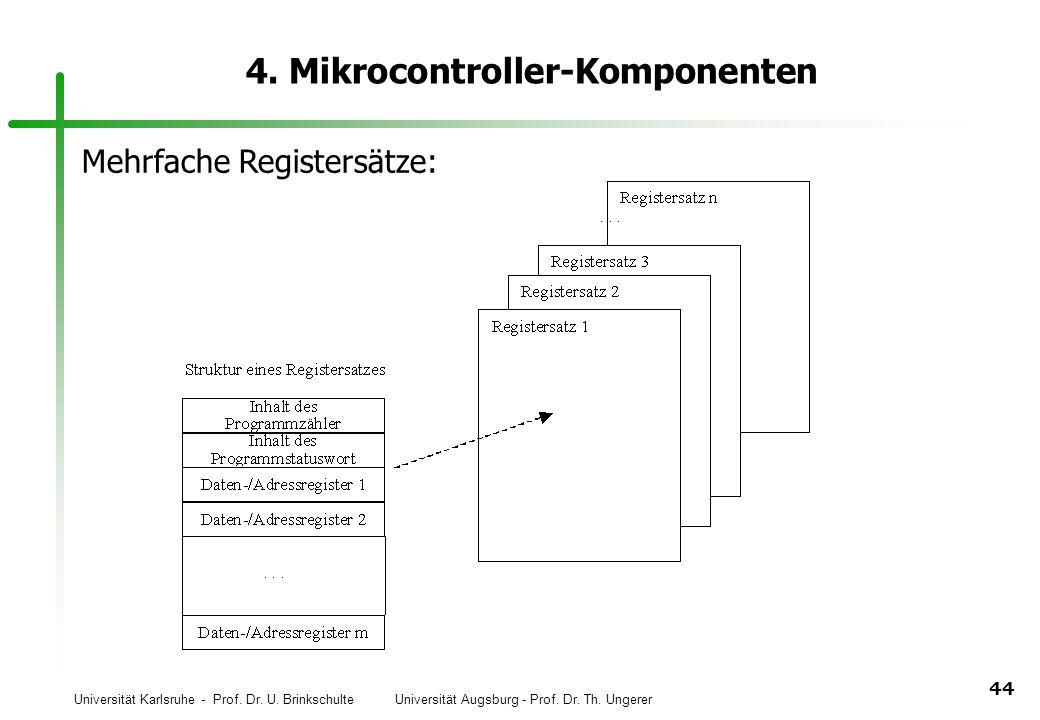 Universität Karlsruhe - Prof. Dr. U. Brinkschulte Universität Augsburg - Prof. Dr. Th. Ungerer 44 4. Mikrocontroller-Komponenten Mehrfache Registersät
