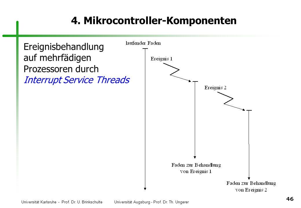 Universität Karlsruhe - Prof. Dr. U. Brinkschulte Universität Augsburg - Prof. Dr. Th. Ungerer 46 4. Mikrocontroller-Komponenten Ereignisbehandlung au
